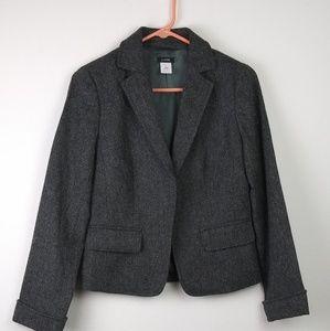 J.Crew 100% Wool Gray Herringbone Blazer SZ:(6)